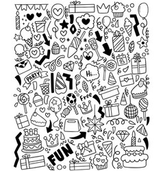 0055 hand drawn party doodle happy birthday vector