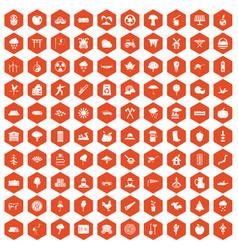 100 tree icons hexagon orange vector
