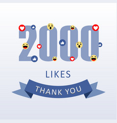 2000 likes thank you number with emoji and heart vector image
