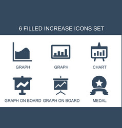 6 increase icons vector image