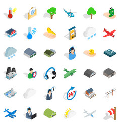 All day airport icons set isometric style vector
