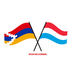 Artsakh and luxembourg flags crossed and waving vector