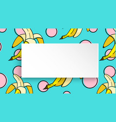 Banana background with pop art dots in 80s 90s vector