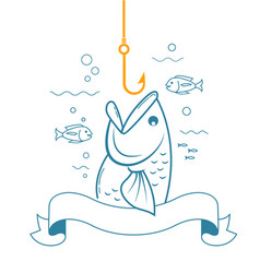 banner fishing with an open mouth vector image