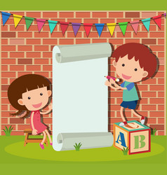 Banner template with boy and girl writing vector
