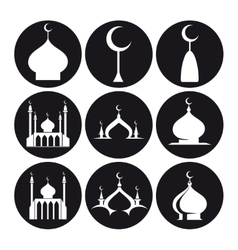 Black and white islamic mosque vector image
