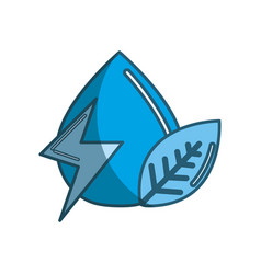 Blue drop of water with energy sign and leaf vector