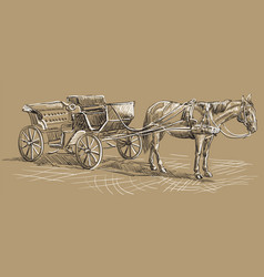 Brown horse with carriage vector
