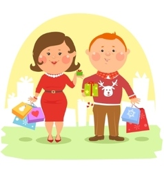 Cartoon people - Couple with shopping bags vector image