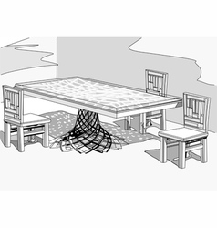 chairs and table2 vector image
