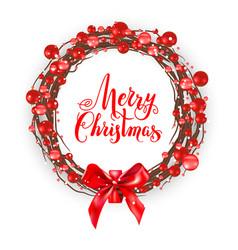 christmas berry wreath vector image