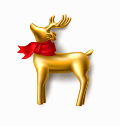 christmas golden reindeer on purple frame vector image