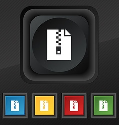 Computer zip folder archive icon symbol Set of vector