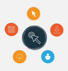Connection icons set collection user cursor vector