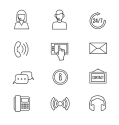 Contact support line icons vector image