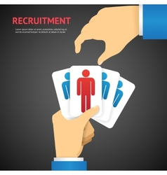 Creative Recruitment Cards Hold by Hand Concept vector image