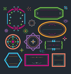 cute colorful retro and floral empty emblems set vector image