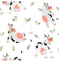 Cute cow pattern seamless texture with funny vector
