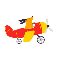 Cute dog animal flying on airplane with propeller vector