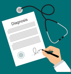 Doctor puts signature in diagnosis list vector