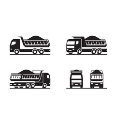 Dump truck in different perspective vector