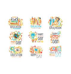 education labels original design set logo vector image