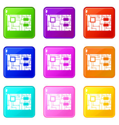 Electronic board set 9 vector