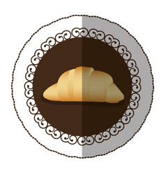 Emblem color croissant bread icon vector