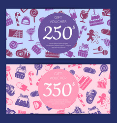 Flat style sweets icons voucher vector