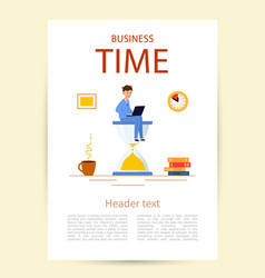 flyer with title business time a young man in a vector image