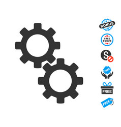 gears icon with free bonus vector image vector image