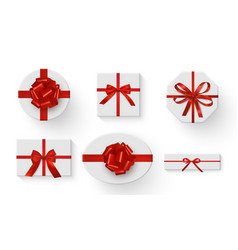 gift boxes tied with red ribbons and decorated vector image