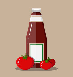 glass bottle traditional tomato ketchup vector image