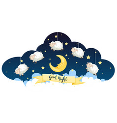 Good night theme with sheeps and stars vector