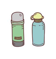 Hand drawn thermos sketch colored vector