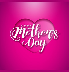 Happy mothers day greeting card with hearth on vector