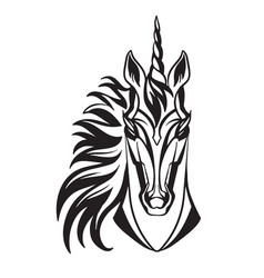Head mascot unicorn isolated on white vector