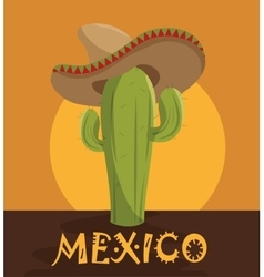 Icon cactus hat mexican design vector