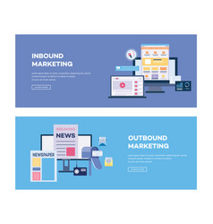 inbound and outbound marketing banner digital vector image