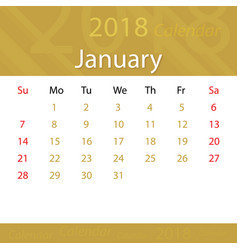January 2018 calendar popular premium for business vector