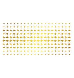 Jet fighter golden halftone grid vector