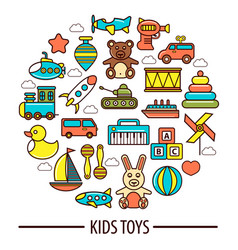 Kid toys or children playthings poster vector