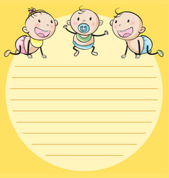 line paper template with three babies vector image