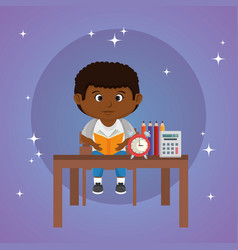 Little afro schoolboy in the classroom vector