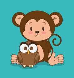 little cute monkey and owl characters vector image