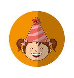 Little kid with party hat icon vector