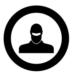 Man in balaclava or pasamontanas black icon in vector