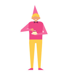Man in festive cap and piece of cupcake isolated vector