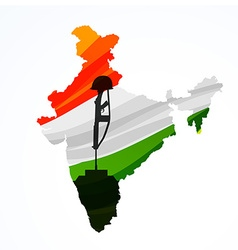 Map of india with amar jyoti vector