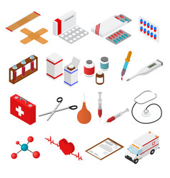 Medical color icons isometric view vector